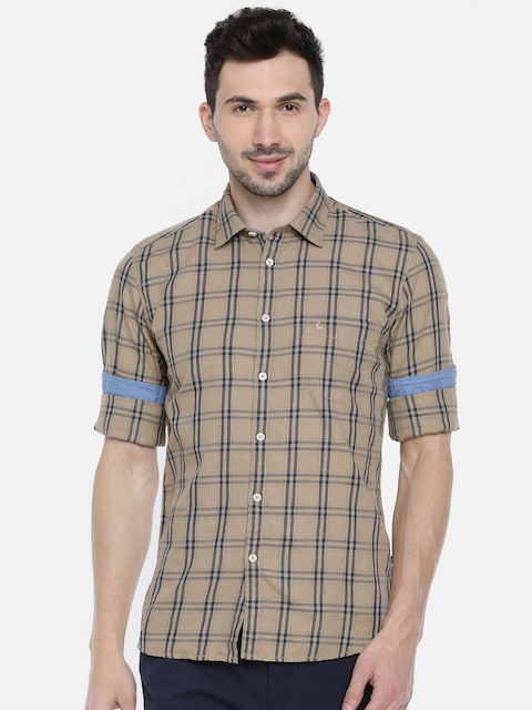 Parx Men Beige & Navy Blue Slim Fit Checked Casual Shirt