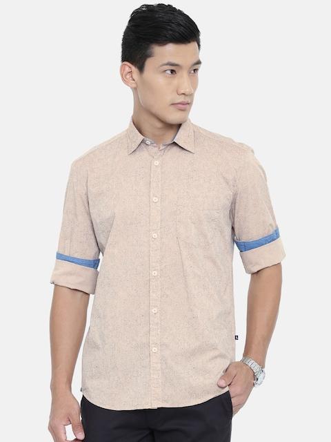 Parx Men Beige & Navy Slim Fit Printed Casual Shirt