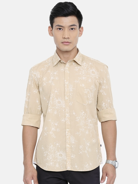 Parx Men Beige & White Slim Fit Printed Casual Shirt