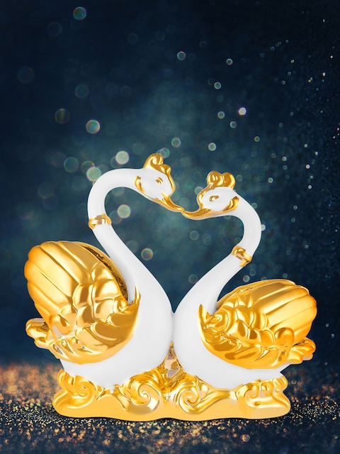 Archies Unisex Gold-Coloured & White Swan Couple Showpiece
