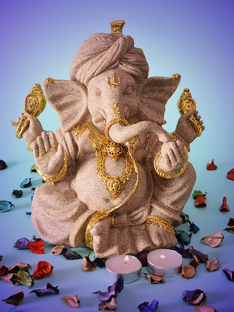 Archies Unisex Grey & Gold-Toned Ganesha Showpiece