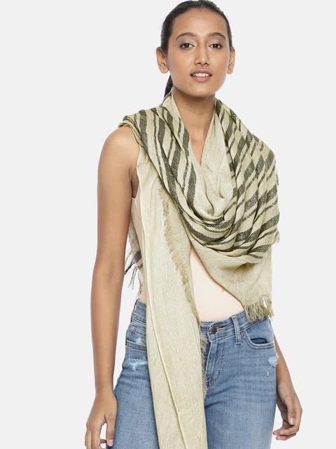 Ayesha Khaki & Black Striped Scarf