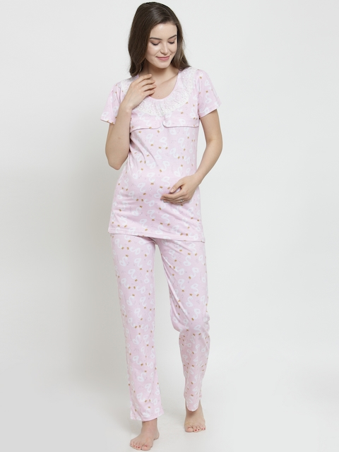 Claura Women Pink & White Printed Maternity Night suit MT-08
