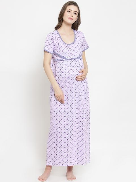 Claura Purple Printed Maternity Nightdress MT-01