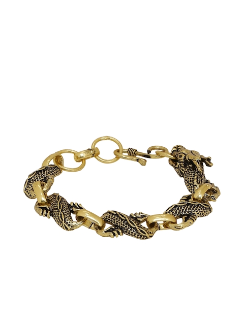 Dare by Voylla Gold-Toned Brass Brass-Plated Oxidised Handcrafted Link Bracelet