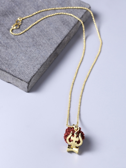 Dare by Voylla Men Yellow Gold-Plated Pendant with Chain