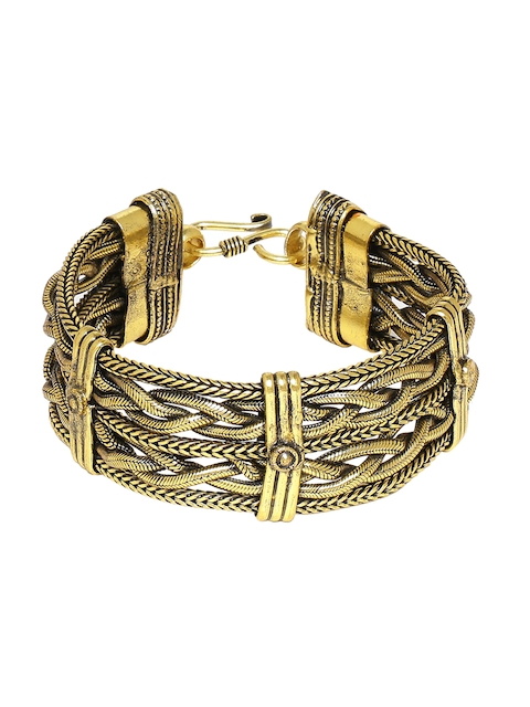 Dare by Voylla Gold-Toned Brass Brass-Plated Oxidised Handcrafted Cuff Bracelet