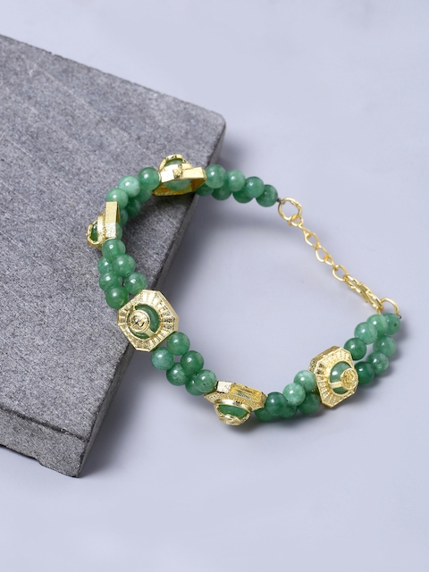 Dare by Voylla Men Gold-Toned & Green Brass-Plated Handcrafted Link Bracelet