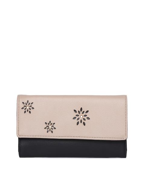 Baggit Women Beige & Black Colourblocked Three Fold Wallet