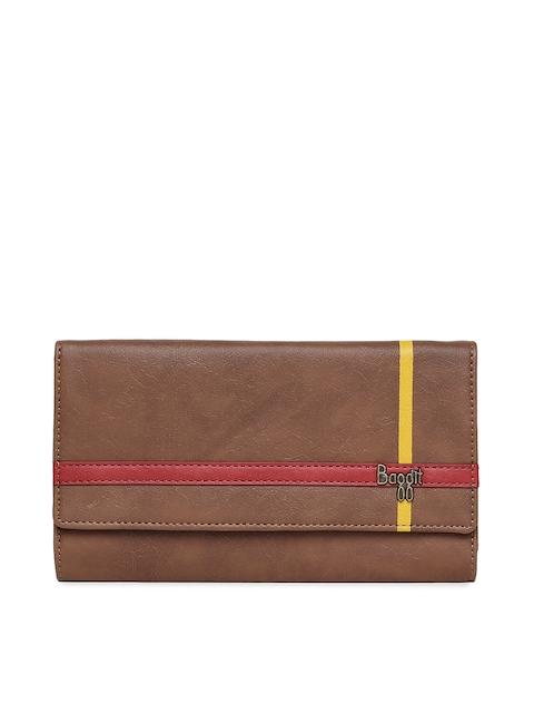 Baggit Women Tan Brown Solid Three Fold Wallet