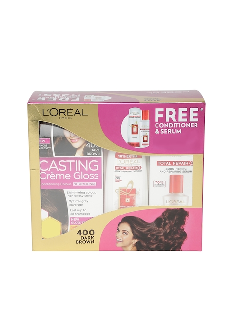 LOreal Paris Dark Brown Casting Creme Gloss Hair Colour with Free Conditioner & Serum