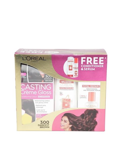 LOreal Paris Darket Brown Casting Creme Gloss Hair Colour with Free Conditioner & Serum