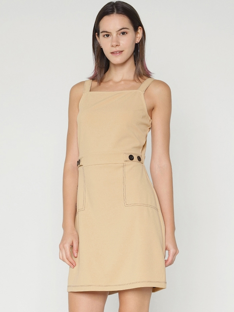 ONLY Women Beige Solid Sheath Dress