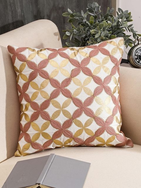 Pure Home and Living White & Pink Single Floral Square Cushion Cover