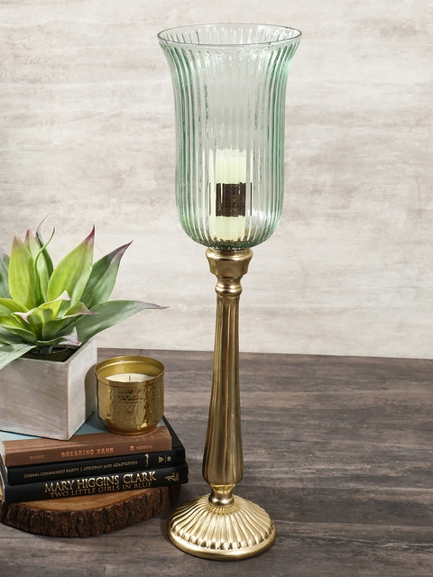 Pure Home and Living Green & Gold-Toned Large Candle Holder