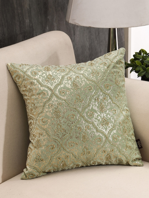 Pure Home and Living Green Single Ethnic Motifs Square Cushion Cover