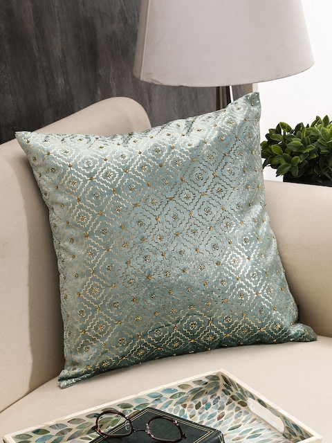 Pure Home and Living Turquoise Blue Geometric Square Cushion Cover