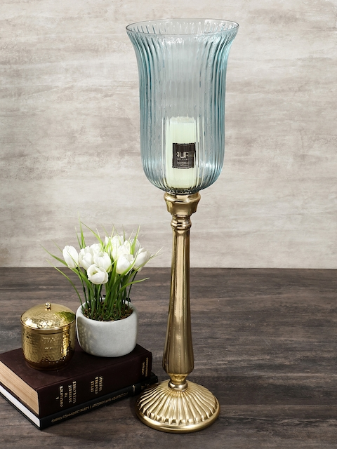 Pure Home and Living Blue & Gold-Toned Large Candle Holder