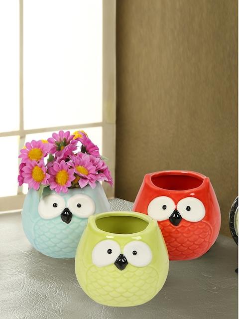 Aapno Rajasthan Set of 3 Multicoloured Ceramic Flower Vases