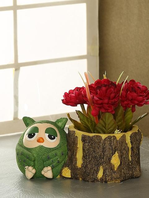 Aapno Rajasthan Brown & Green Resin Flower Vase