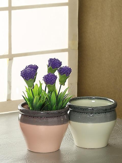 Aapno Rajasthan Set of 2  Pink & White Ceramic Flower Vases