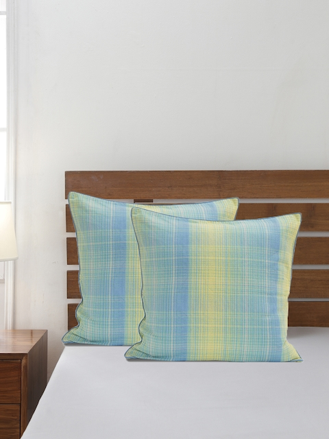Maspar Set of 2 Blue & Yellow 310GSM Square Pillow Covers