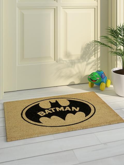 Saral Home Unisex Beige & Black Printed Batman Doormat