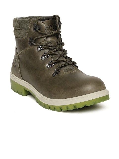 Woodland Men Brown Solid Nubuck Leather Mid-Top Flat Boots