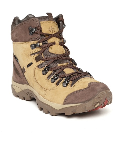 Woodland Men Camel Brown Nubuck Leather Mid-Top Trekking Shoes