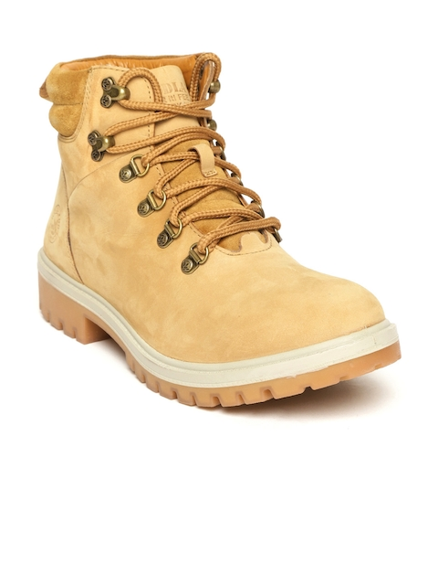 a76917b048d2 Woodland Men Camel Brown Nubuck Leather Mid-Top Flat Boots