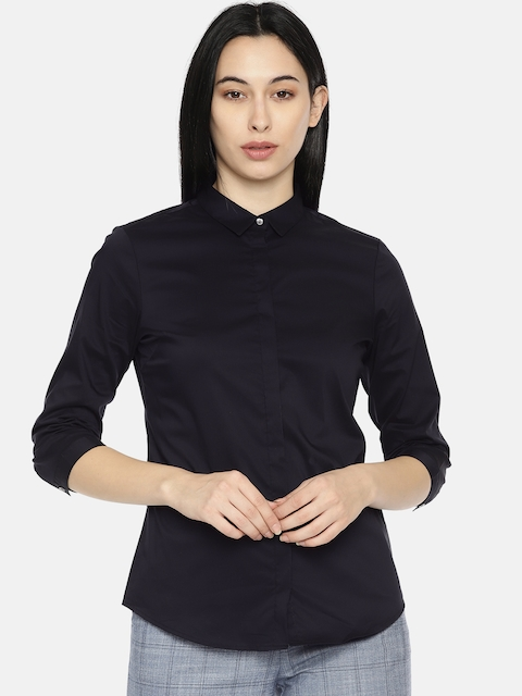 Van Heusen Woman Women Black Regular Fit Solid Casual Shirt