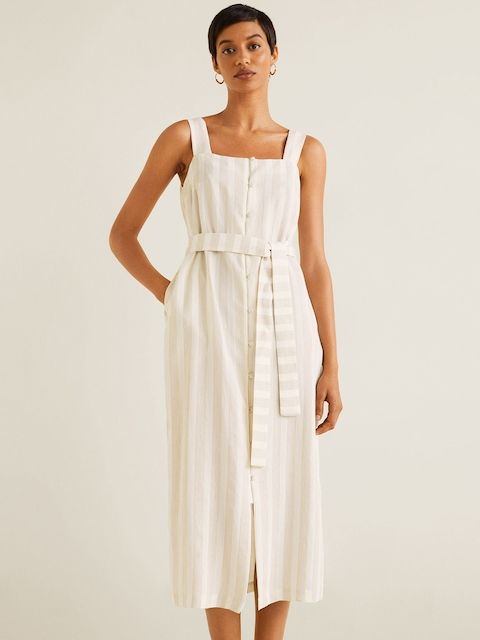 MANGO Women Beige & Off-White Striped A-Line Dress