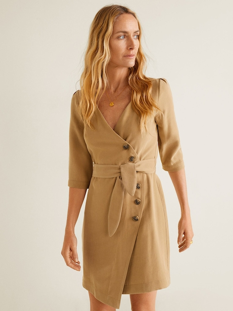 MANGO Women Beige Solid Wrap Dress