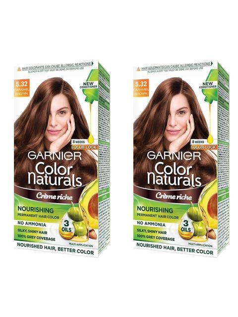 Garnier Women Set of 2 Caramel Brown Color Naturals Hair Colour 5.32