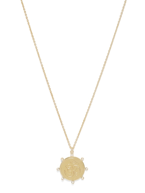 Accessorize Gold Plated Circular Om Pendant With Chain