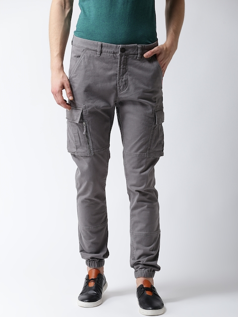 Superdry Men Grey Straight Fit Solid Cargo Joggers
