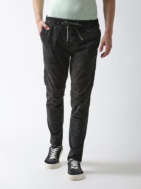Superdry Men Olive Green Tapered Fit Printed Regular Trousers