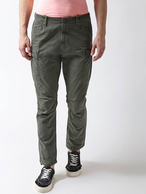 Superdry Men Olive Green Straight Fit Solid Cargos