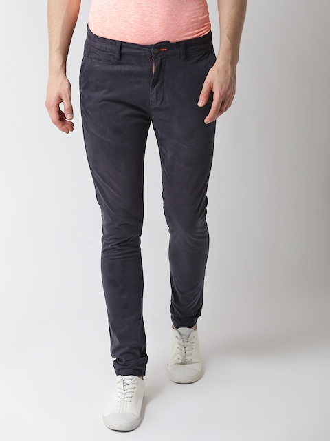 Superdry Men Charcoal Grey Slim Fit Solid Chinos