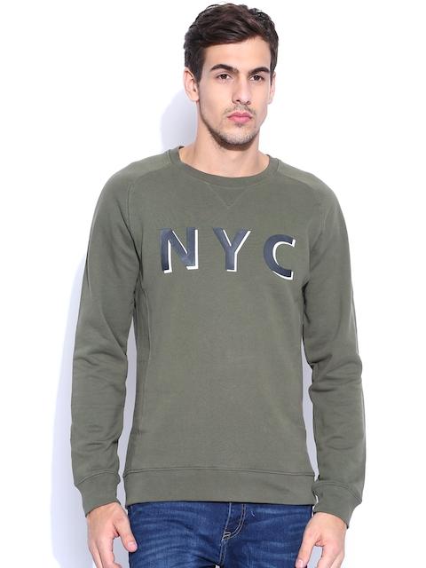 H.E. by Mango Olive Printed Sweatshirt