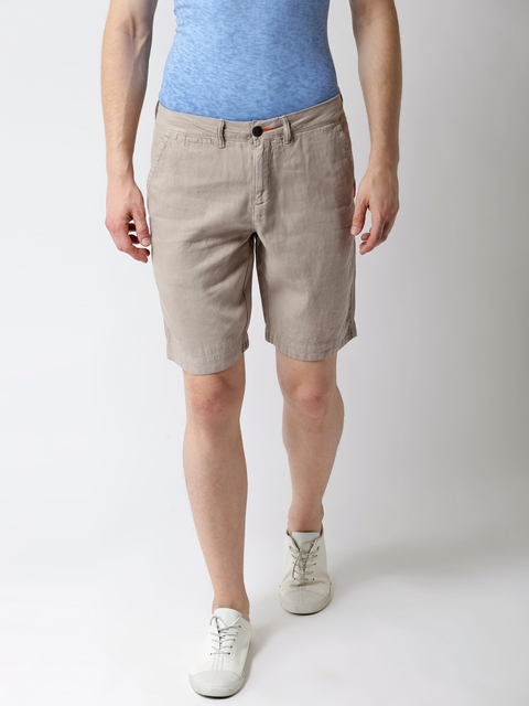 Superdry Men Beige Linen Solid Slim Fit Chino Shorts