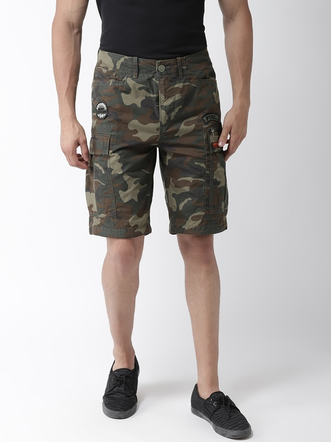 Superdry Men Olive Green & Brown Camouflage Print Regular Fit Cargo Shorts