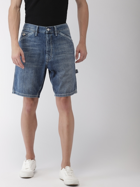Superdry Men Blue Washed Regular Fit Denim Shorts