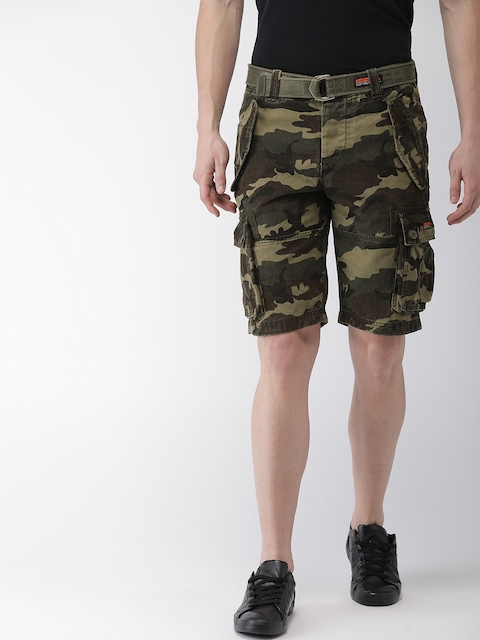 Superdry Men Olive Green & Brown Printed Regular Fit Cargo Shorts