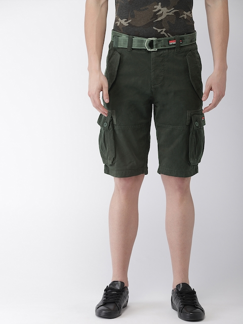 Superdry Men Black Solid Regular Fit Cargo Shorts