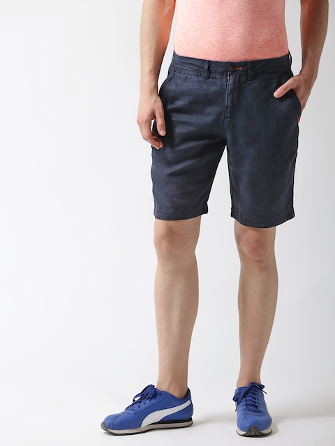 Superdry Men Navy Blue Linen Solid Slim Fit Chino Shorts