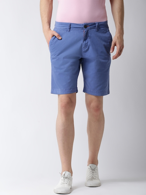 Superdry Men Blue Solid Slim Fit Chino Shorts