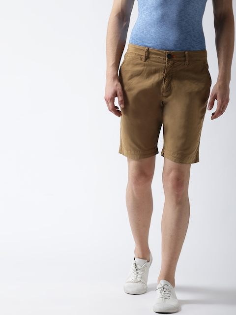 Superdry Men Khaki Solid Slim Fit Chino Shorts