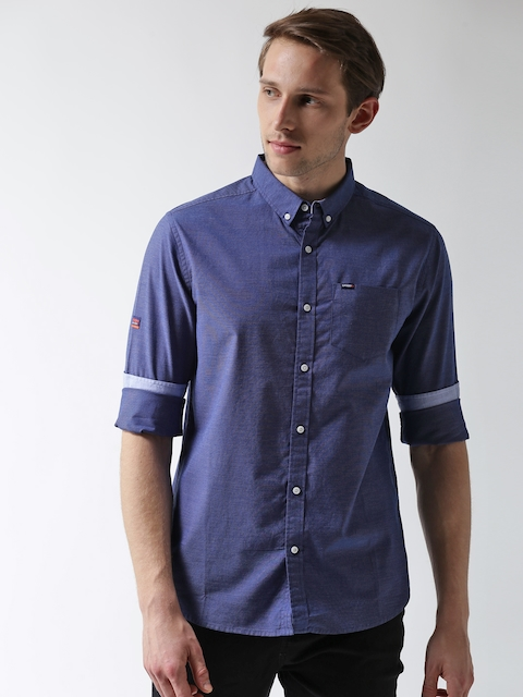Superdry Men Blue Regular Fit Solid Casual Shirt