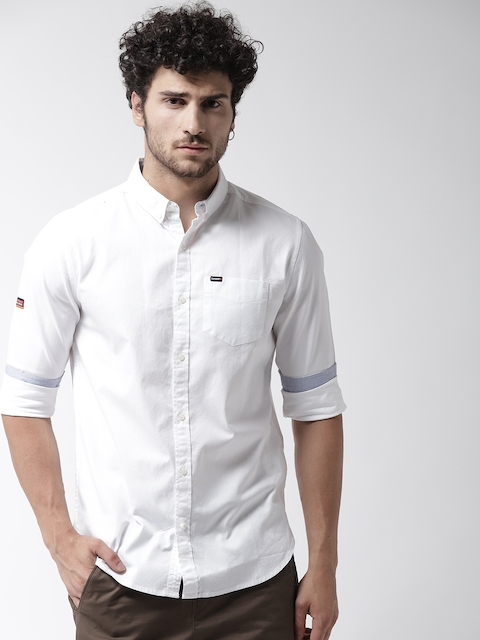 Superdry Men White Regular Fit Solid Casual Shirt